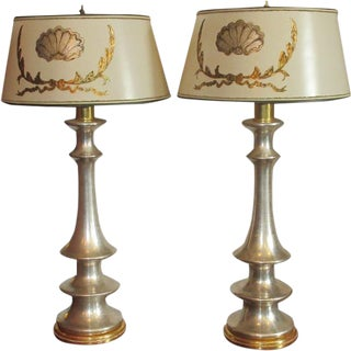 Pair of Fine Designer Yellow & White Gold Table Lamps by Randy Esada Designs