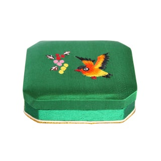 Vintage Green Silk Trinket Box