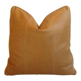 Premium Golden Italian Leather & Linen Pillow