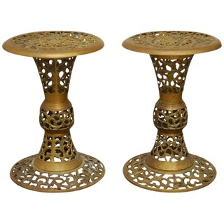 Brass Asian Reticulated Drink Tables - a Pair