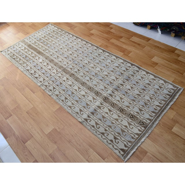 Hand-Knotted Turkish Antique Effect Rug - 3′ X 7′ - Image 4 of 9