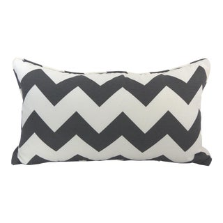 Dark Gray/Off-White Chevron Pattern Custom Kidney Pillow