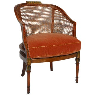 English Edwardian Painted and Caned Armchair