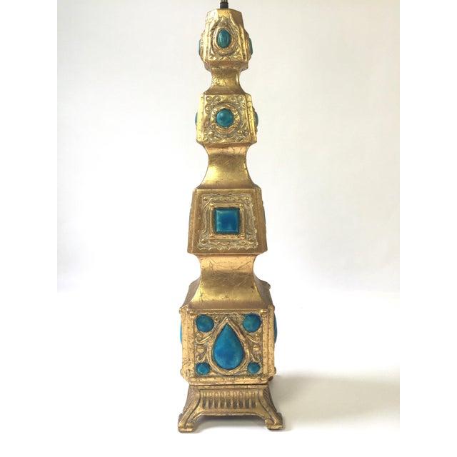 Image of Pagoda Style Gilded Gem Lamp