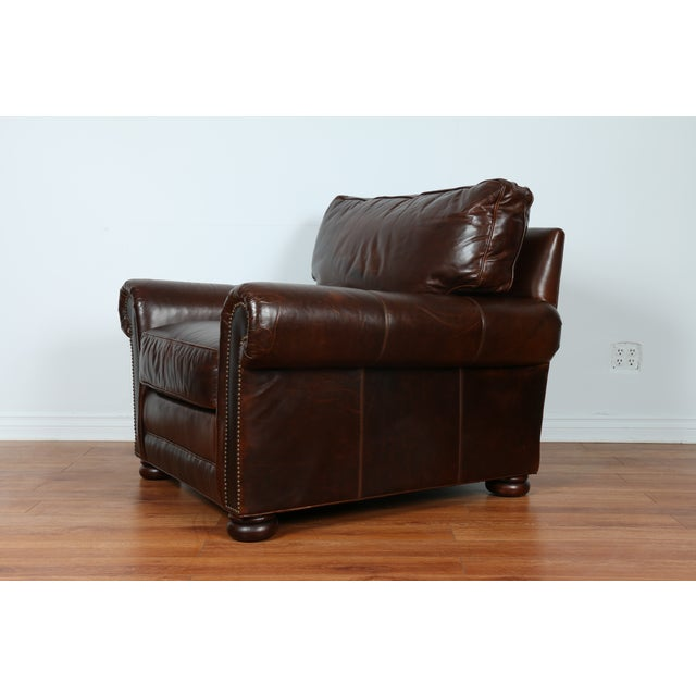 Brown Leather Chair With Ottoman - Image 2 of 11