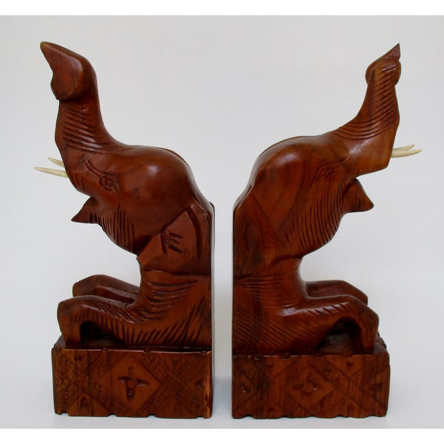 Carved Wood Elephant Bookends - A Pair - Image 2 of 6