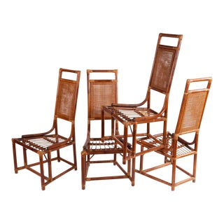 Rattan High Back Dining Chairs - Set of 4
