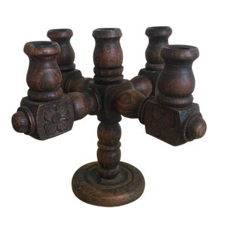 Spanish Revival Hand Carved Candelabra