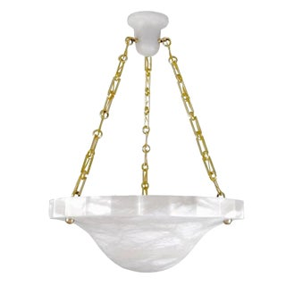 High Style Modern Alabaster Chandelier with Carved Edges