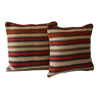 Vintage Striped Kilim Pillow Covers - A Pair