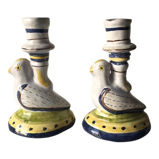 Portuguese Faience Bird Candle Holders-Signed - a Pair
