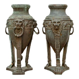 Pair of English Patinated Bronze Athenienne Form Urns, 19th Century