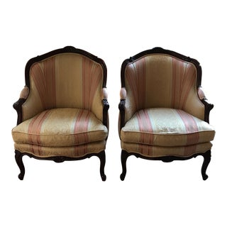 Vintage Upholstered Arm Chairs - a Pair
