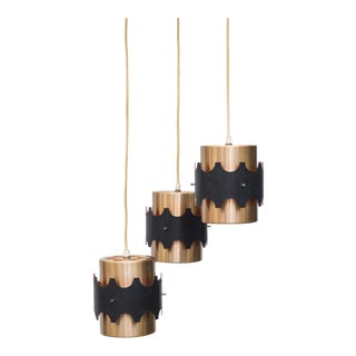 Copper & Black Cylinder Pendant Lights - Set of 3