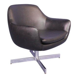 Eames Mid-Century Faux Leather Black Lounge Armchair