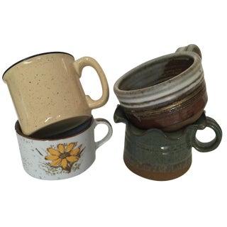 Vintage Rustic Soup Mugs - Set of 4