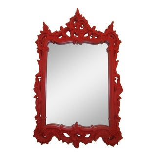 Red Carved Wood Mirror