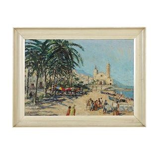 "Original Signed Impressionist Oil On Board By R. Thomson-""Sitges (Spain)""-1965"