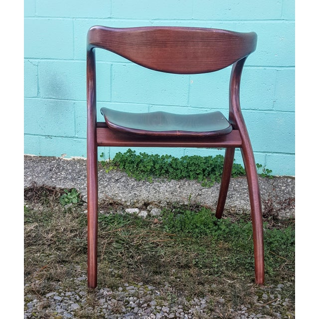 Vintage Solid Curved Cherry Wood Dining Chairs - Set of 6 - Image 6 of 9