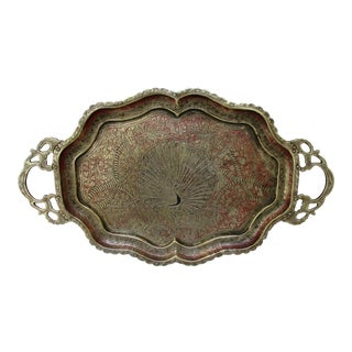 Vintage Indian Brass Peacock Tray