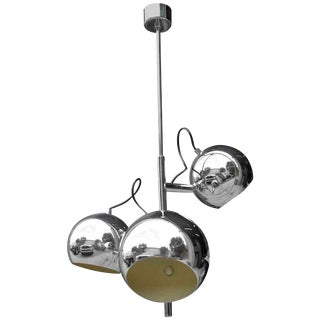 French Mid Century Modern 3 Light Chrome Ball Chandelier/ Fixture Circa 1960s