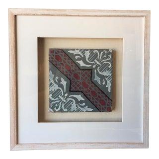 Framed Italian Antique Tile - Gray White Red Black