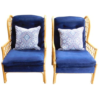 Vintage Bauhaus Rattan Wing Chairs - Pair