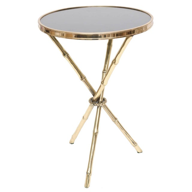 Chic Italian Polished Brass and Granite Faux Bamboo Tripod Side Table - Image 1 of 10