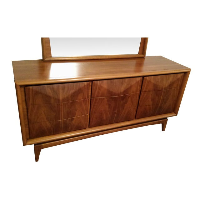 Image of Diamond Front Walnut Credenza With Mirror