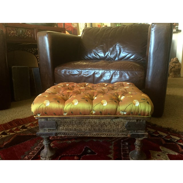 Orange Embroidered Handcarved Ottoman Stool - Image 9 of 11