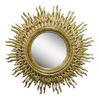 "48"" Gold Sunburst Wall Mirror Vintage Mid Century Modern Hollywood Regency Wavy"