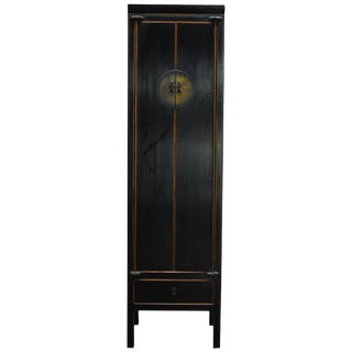 Chinese Tall Black Lacquer Cabinet