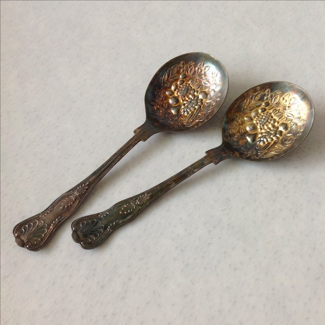 English Silver Plated Berry Servings Spoons - Pair - Image 3 of 9