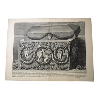 "Antique Architectural Lithograph After Piranesi, ""Grand Urna DI Porfido"""