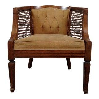 Regency-Style Cane & Velvet Bucket Chair