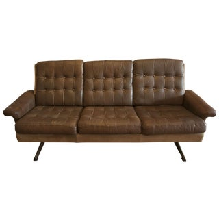 Mid-Century Brown Leather Three Seat Sofa