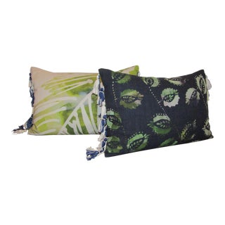 Contemporary Indigo & Green Tassel Pillows - A Pair