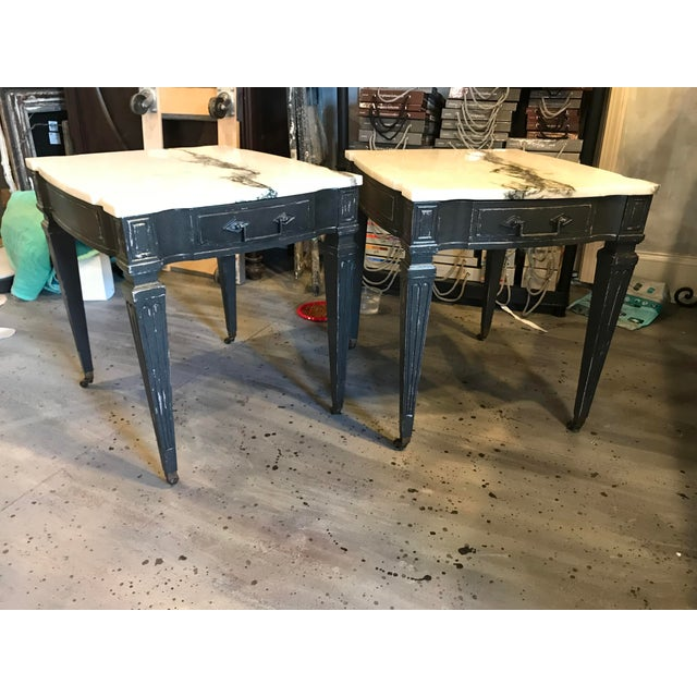 Weiman White & Black Marble Top Vintage Side Tables -- A Pair - Image 2 of 11