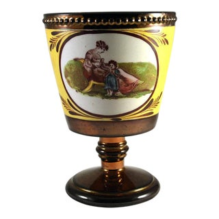 English Pottery Copper Lustre Beaker with Adam Buck Figures, Possibly Enoch Wood