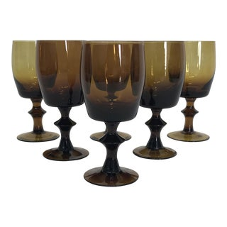 1960s Amber Stem Glasses - Set of 6