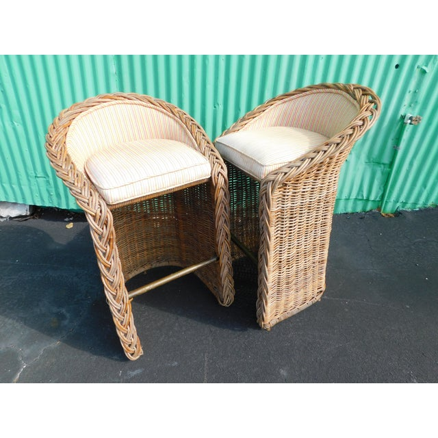 Boho Chic Wicker Stools - A Pair - Image 3 of 9