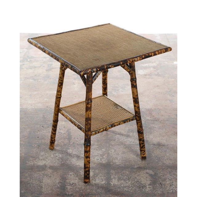 Bamboo Square Table: English Victorian 19th C. Bamboo Square Side Table