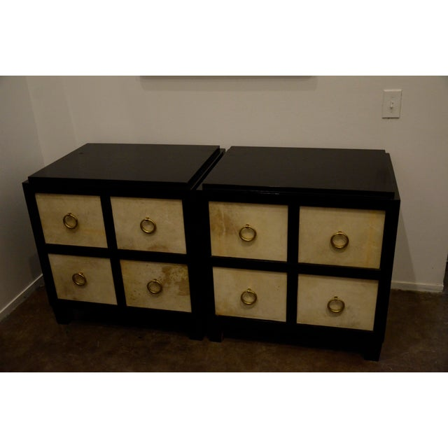 A Pair of French Moderne style Ebonized Wood and Vellum Bedside Cabinets - Image 2 of 7