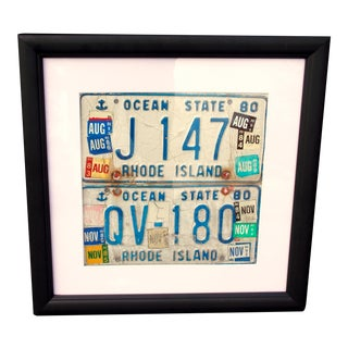 Framed Folk Art Rhode Island License Plate