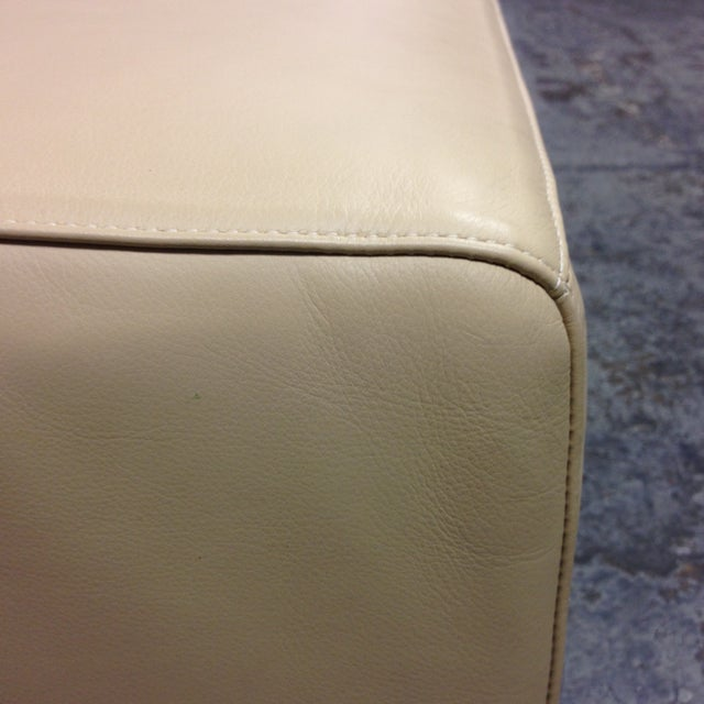 Cream Leather Ottoman by Living Divani - Image 5 of 6