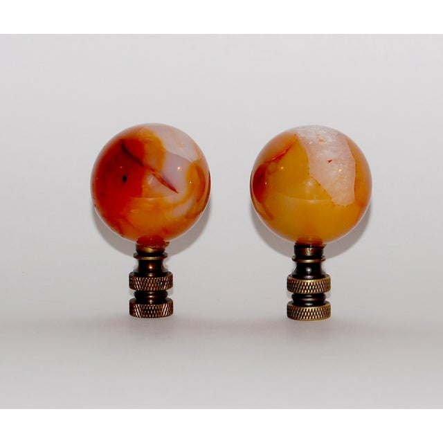 Carnelian Sphere Finials - A Pair - Image 2 of 3