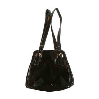1960s Classic Black Patent Vinyl Handbag