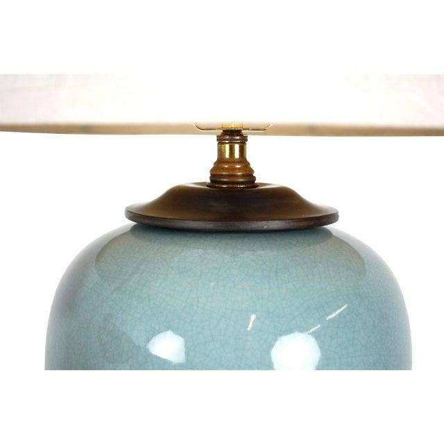 Vintage Blue Ceramic Crackle Lamp - Image 3 of 7