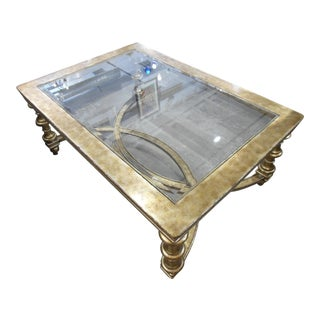 La Barge Gold Wood Framed Glass Top Coffee Table