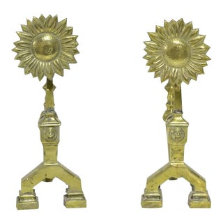 A Pair of Sunflower Fire Tool Holders